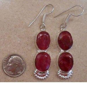 Jewelry - NEW Real natural RUBY and sterling silver earrings